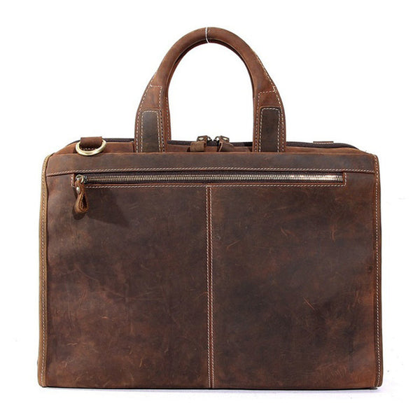 Vintage Leather Mens Briefcase Lawyer Laptop Bag Messenger with Shoulder Strap 8901 - ROCKCOWLEATHERSTUDIO