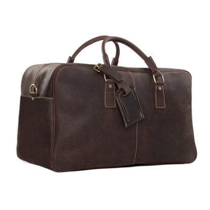 Super Large Leather Travel Duffle Bag Laptop Weekender Bag Overnight Bag 7156 - ROCKCOWLEATHERSTUDIO