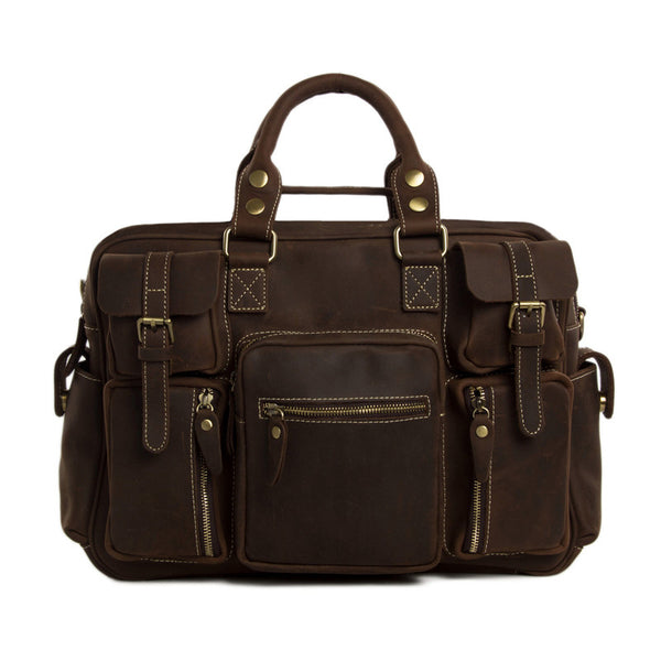 Natural Leather Men's Travel Bags Laptop Men Briefcase 7028 - ROCKCOWLEATHERSTUDIO