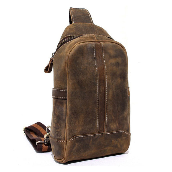 Unbalance Backpack Mens Cowhide Leather Messenger Bag Outdoor Chest Bag 8885 - ROCKCOWLEATHERSTUDIO