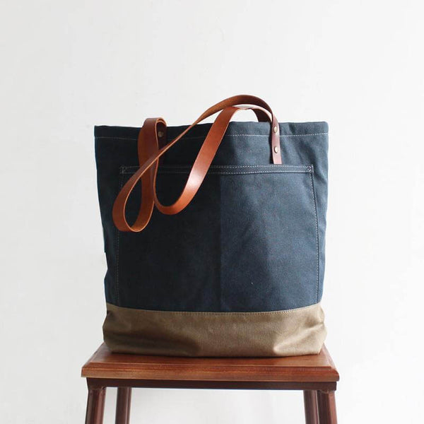 Handmade Canvas Tote Bag, Women's Fashion Bag, Shopper Bag, Handbag With Leather 14047