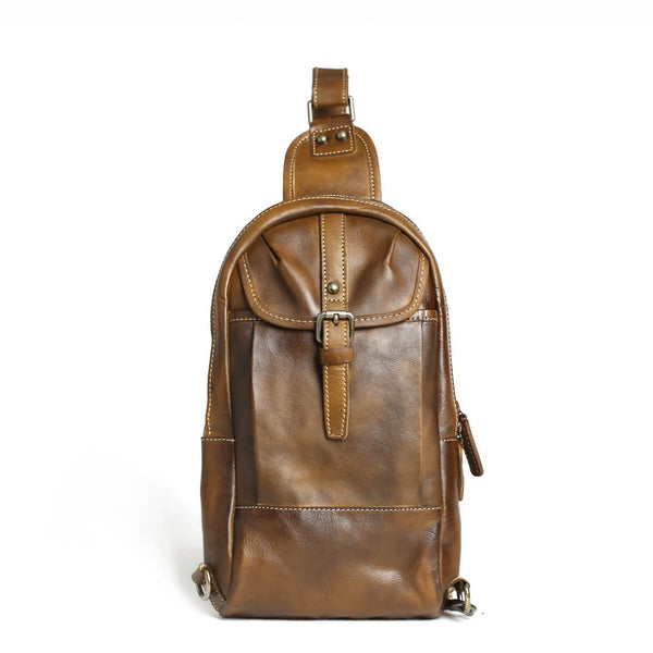 Handmade Chest Bag, Vintage Full Grain Leather Backpack, Men's Leather Sling Shoulder Bag 14132 - ROCKCOWLEATHERSTUDIO