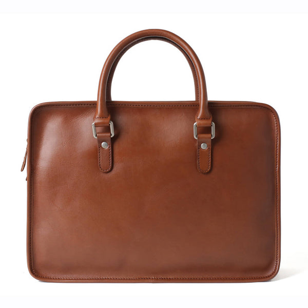 Handmade Full Grain Leather Briefcases, Men's Laptop Bag, Cross Body Bag F65 - ROCKCOWLEATHERSTUDIO