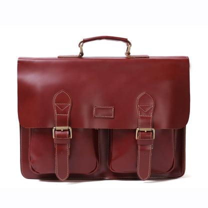 Handmade Full Grain Leather Laptop Briefcase, Vintage Style Business Handbag, Men's Messenger Bag 0344