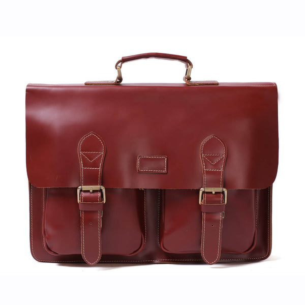 Flash Sale Handmade Full Grain Leather Laptop Briefcase, Vintage Style Business Handbag, Men's Messenger Bag 0344 - ROCKCOWLEATHERSTUDIO