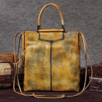 Handmade Full Grain Leather Women Satchel Bag, Shoulder Bag, Ladies Handbag A0031 - ROCKCOWLEATHERSTUDIO