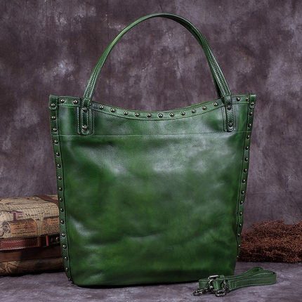 Handmade Full Grain Leather Women Tote Bag, Shopper Bag, Handbag A0050 - ROCKCOWLEATHERSTUDIO