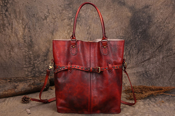Handmade Full Grain Leather Women Tote Bag, Shoulder Bag, Shopping Bag F180280 - ROCKCOWLEATHERSTUDIO