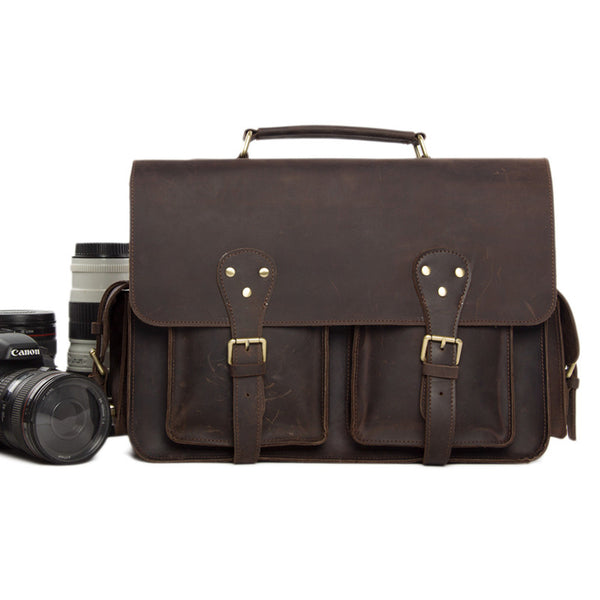 Vintage Genuine Leather DSLR Camera Bag Leather Briefcase SLR Camera Bag 7145 - ROCKCOWLEATHERSTUDIO