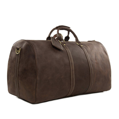 Vintage Style Full Grain Leather Travel Bag Duffle Bag Weekender Bag 12027 - ROCKCOWLEATHERSTUDIO
