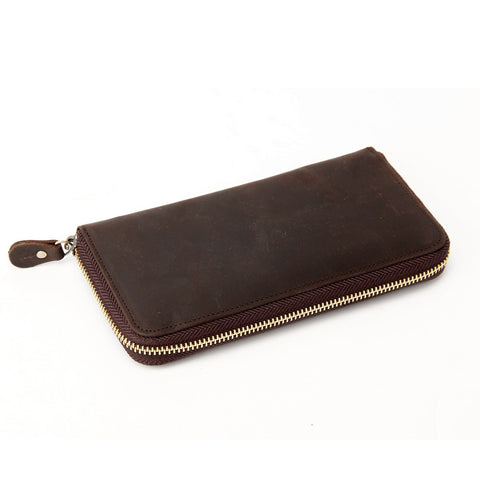 ROCKCOW Custom Wholesale Genuine Leather Wallet Men Long Wallet Money Purse Card Holders B-200 - ROCKCOWLEATHERSTUDIO