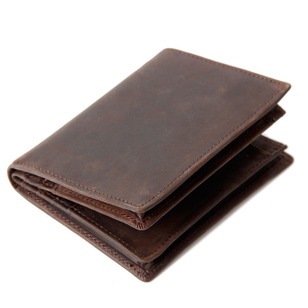 ROCKCOW Genuine Leather Wallet Money Purse Bag Men Short Wallet Card Holder 197 - ROCKCOWLEATHERSTUDIO