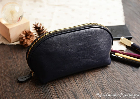Custom Handmade Vegetable Tanned Italian Leather Cosmetic Bag Toiletry D057 - ROCKCOWLEATHERSTUDIO
