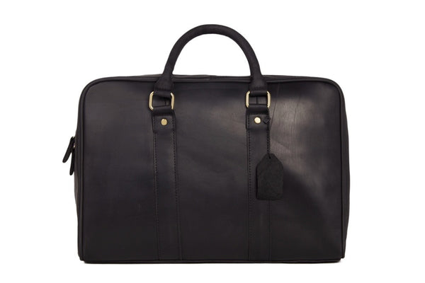 Black Genuine Leather Briefcase, Messenger Bag, Laptop Bag, Men's Handbag D007 - ROCKCOWLEATHERSTUDIO
