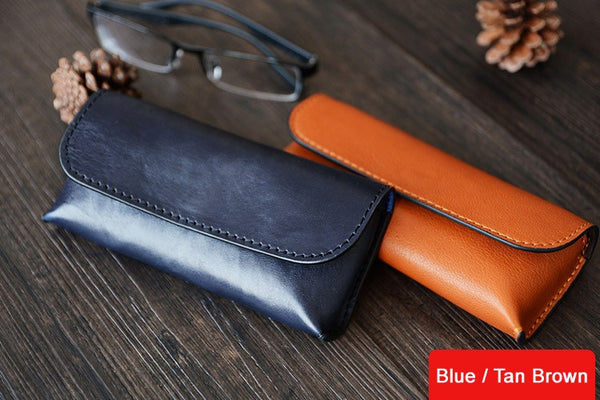 Custom Handmade Vegetable Tanned Italian Leather Sunglass Case Pouch Pocket D056 - ROCKCOWLEATHERSTUDIO