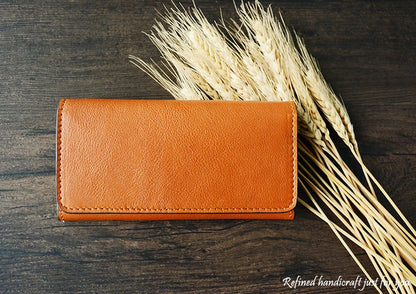 Custom Handmade Vegetable Tanned Italian Leather Card Holder Leather Wallet Money Purse Clutch D053 - ROCKCOWLEATHERSTUDIO