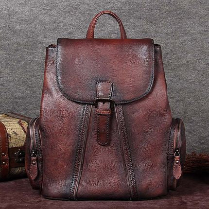 Handmade Leather Backpack, Vintage Rucksack, School Backpack A0136 - ROCKCOWLEATHERSTUDIO