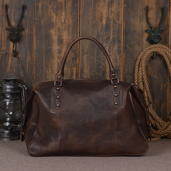 Full Grain Leather Travel Duffel Bag Boarding Luggage Carry On Gifts for Men Women 9029 - ROCKCOWLEATHERSTUDIO