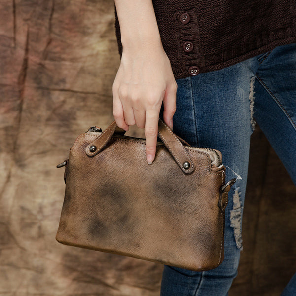 Handmade Top Grain Shoulder Bag, Personalized Leather Handbag T2390