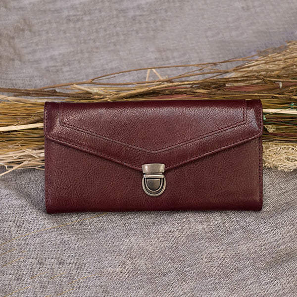 Handmade Long Wallet Full Grain Leather Envelope Wallet Card Holder Wallet ESS1883