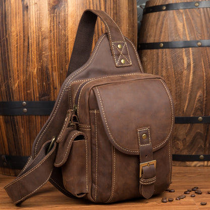 Leather chest bag mens Messenger bag mens backpack top layer leather shoulder bag outdoor sports bag