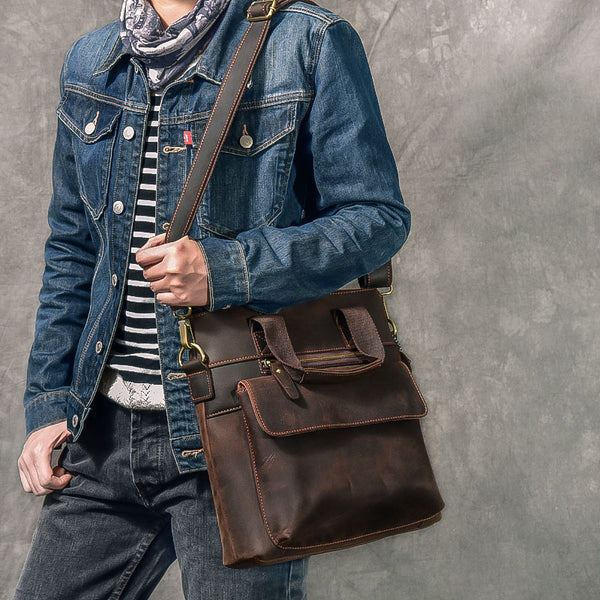 Handmade Men Tote Bag Crazy Horse Leather Men Shoulder Bag Vintage Messenger Bag ESS2683