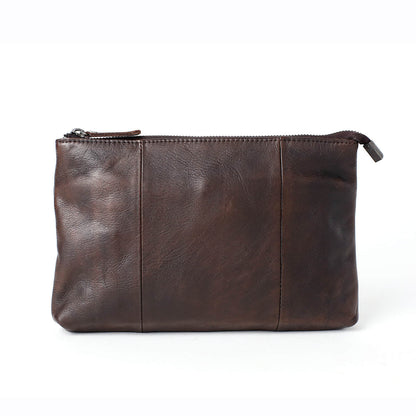 Handmade Men's Full Grain Leather Clutch Handbag, Vintage Wallet, Phone Sleeve 14113