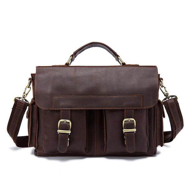 Handmade Men's Genuine Leather Bag, Business Briefcase Handbag, Shoulder Messenger Bag 8408