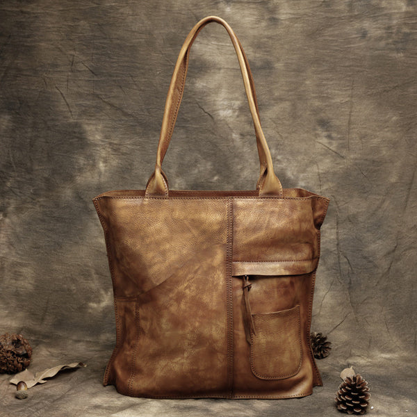 Handmade Vintage Leather Handbags, Top Grain Leather Tote Bag, Shoulder Bag DD103 - ROCKCOWLEATHERSTUDIO