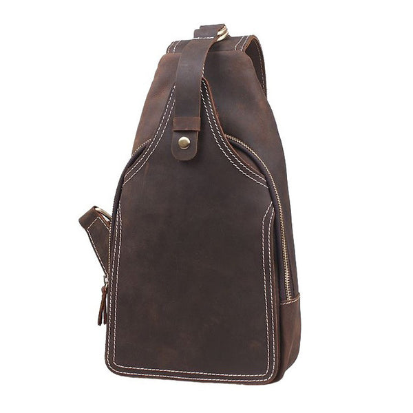 Rustic Leather Backpack Single Strap Chest Bag Travel Sport Use Bag 2038 - ROCKCOWLEATHERSTUDIO