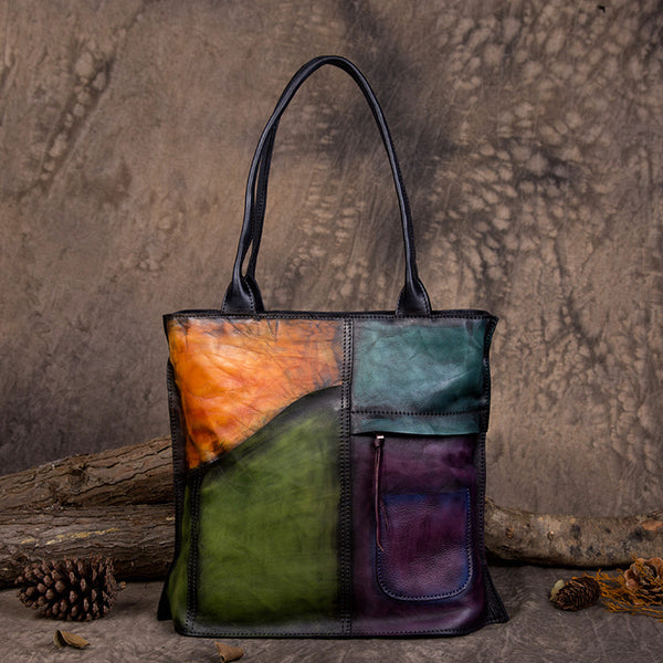 Handmade Vegetable Tanned Full Grain Leather Women Tote Bag, Shopping Bag, Shoulder Bag DD103 - ROCKCOWLEATHERSTUDIO