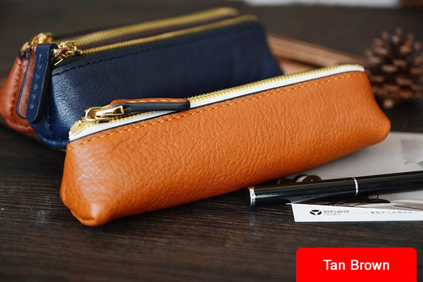 Custom Handmade Vegetable Tanned Italian Leather Pen Bag Pencil Case Pen Pouch D052 - ROCKCOWLEATHERSTUDIO
