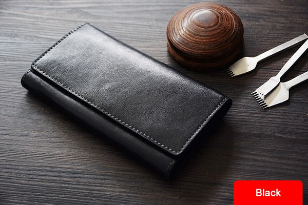 Custom Handmade Vegetable Tanned Italian Leather Long Wallet Money Purse Card Holder Wallet D051 - ROCKCOWLEATHERSTUDIO