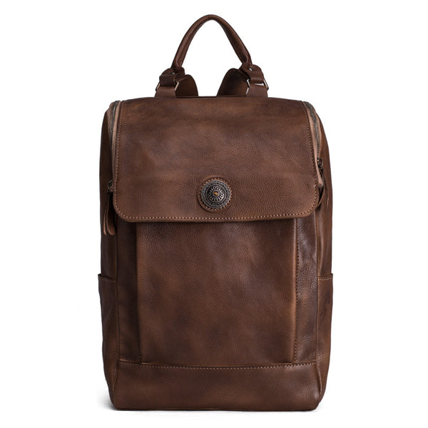 High Quality England Vintage Style Genuine Leather Men Backpacks For College School Backpacks 9026 - ROCKCOWLEATHERSTUDIO