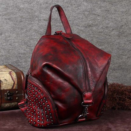 Handmade Vintage Leather Backpack, Rucksack, School Backpack, Travel Backpack A0088 - ROCKCOWLEATHERSTUDIO