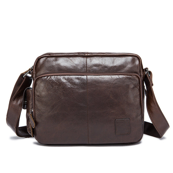 Handmade Vintage Leather Shoulder Bag, Men's Zipper Genuine Leather Messenger Bag 8876 - ROCKCOWLEATHERSTUDIO