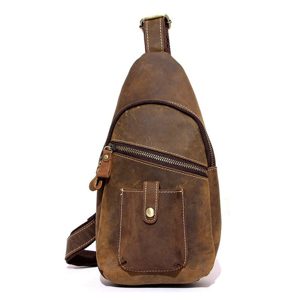 89371c376a ... Top Grain Leather Travel Hiking Single Strap Shoulder Backpack Sling  Bag 8886 - ROCKCOWLEATHERSTUDIO ...