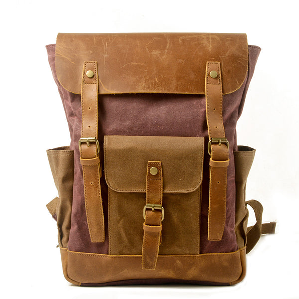 Handmade Waxed Canvas Laptop Backpack Waterproof Canvas With Full Grain Leather Travel Backpack Unisex School Backpack MC5016