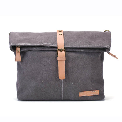 Handmade Waxed Canvas Leather Satchel Bag, Messenger Cross body Bag AF37