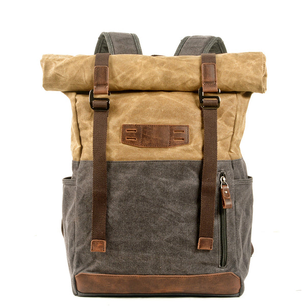 Handmade Waxed Canvas Travel Backpack Unisex Canvas With Full Grain Leather Hiking Rucksack Large Capacity Laptop Backpack MC5002-LA