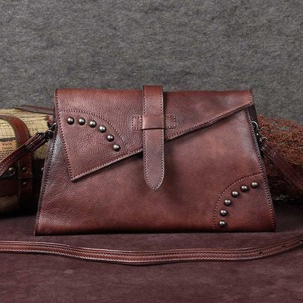 Handmade Women Messenger Bag, Vintage Shoulder Bag, Ladies Purse A0048 - ROCKCOWLEATHERSTUDIO
