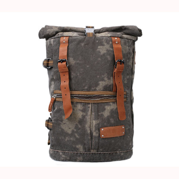 High Quality Canvas Backpack, Waxed Canvas Backpack Hiking Travel Backpack 5040 - ROCKCOWLEATHERSTUDIO