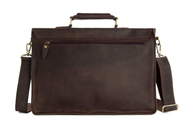 440b6f9771 ... Laptop Bag Men s Handbag 7205 - ROCKCOWLEATHERSTUDIO  Vintage Dark  Espresso Leather Briefcase for Men