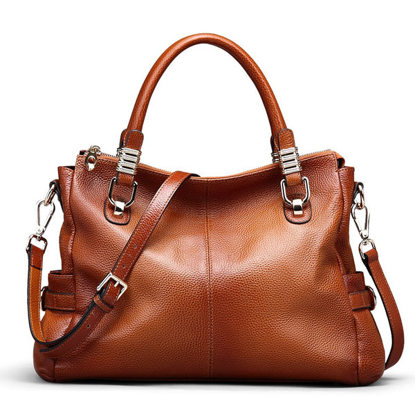 COLORS WOMEN FULL GRAIN LEATHER VINTAGE TOTE SHOULDER BAG TOP-HANDLE CROSSBODY HANDBAGS SL9333 - ROCKCOWLEATHERSTUDIO