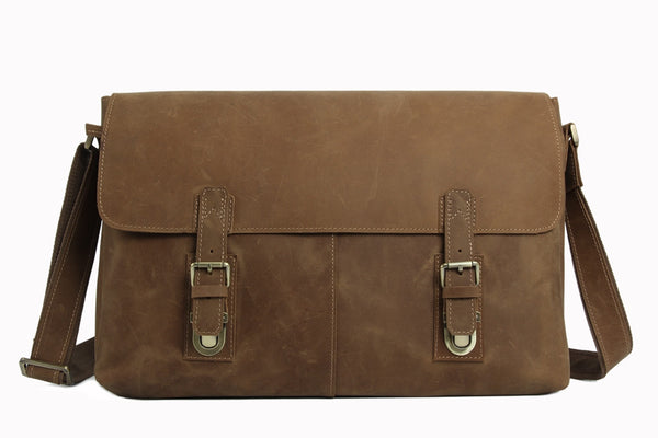 Men's Genuine Vintage Leather Messenger Shoulder Laptop Bag - Mens Leather Bags 6002LR - ROCKCOWLEATHERSTUDIO