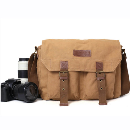 Khaki Canvas DSLR Camera Bag, Professional SLR Camera Purse Fit Canon Nikon F1003
