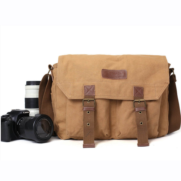 Flash Sale Khaki Canvas DSLR Camera Bag, Professional SLR Camera Purse Fit Canon Nikon F1003 - ROCKCOWLEATHERSTUDIO