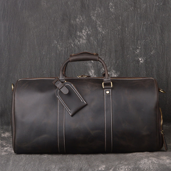 Vintage Full Grain Leather Travel Bag, Large Duffle Bag, Overnight Bags S12026 - ROCKCOWLEATHERSTUDIO