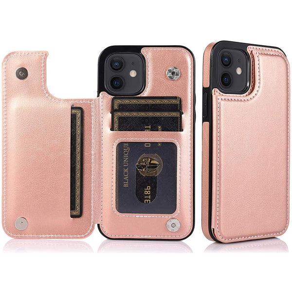 Flash Sale Leather Case for iPhone 12 iPhone PU Leather Double Magnetic Clasp Kickstand Protective Shockproof Cover Case4-RoseGold