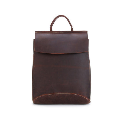 Vintage Style Top Grain Leather Backpack Travel Backpack Unisex Backpack 8904 - ROCKCOWLEATHERSTUDIO